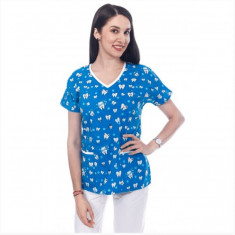Bluza medicala albastra cu dintisori