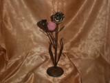 Sfesnic, suport lumanare, bronz, alama, Art Deco, vintage