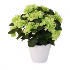 Hortensie Artificiala Verde Deschis decorativa cu frunze Verde inchis in ghiveci Alb de interior sau exterior D floare 37 cm D ghiveci15 cm