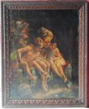 Portrete de copii, pictura veche ulei pe panza, scena clasica