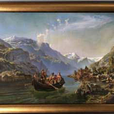 45 Peisaj tablou cu Lac intre munti Tablou cu peisaj montan Pictura ulei 66x46cm
