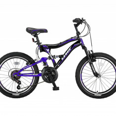 Bicicleta copii UMIT Albatros , culoare albastru/negru, full suspensie , roata 2PB Cod:20570000002