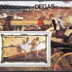 DPR Korea 1984 - pictura Degas, colita neuzata