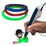 Pachet creion pentru desenat obiecte 3D Smart Level, alb/albastru + 3 filamente...