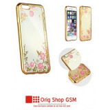 Husa Silicon DIAMOND Flower Samsung G965 Galaxy S9 Plus Gold