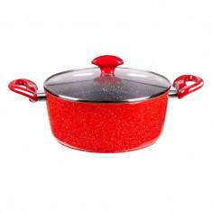 Oala aluminiu forjat Zephyr Red Passion, 24 cm, 4.7 l, invelis marmura