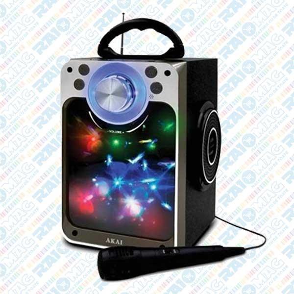 """Boxă portabilă AKAI, Bluetooth, Microfon, jocuri de lumini cu efect """"Disco"""""""