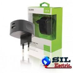 Incarcator de la retea, 2x iesire USB A / USB C 3.4 A negru, Sweex