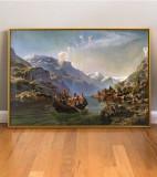 Peisaj tablou cu Lac intre munti Tablou pictat manual pictura ulei 66x46cm, Peisaje, Realism