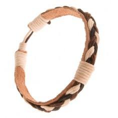 Brățară din piele maro deschis, bandă împletită în alb cu negru și maro închis