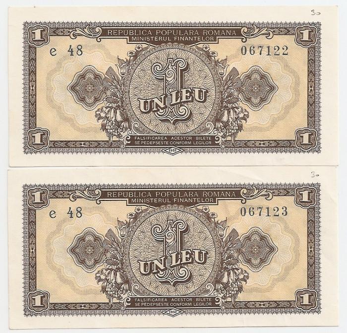 ROMANIA 2 X 1 LEU 1952 AUNC CONSECUTIVE