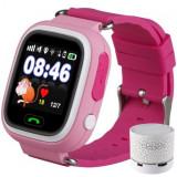 Cumpara ieftin Ceas Smartwatch cu GPS Copii iUni Kid100, Touchscreen, Bluetooth, Telefon incorporat, Buton SOS, Roz + Boxa Cadou
