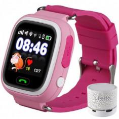Ceas Smartwatch cu GPS Copii iUni Kid100, Touchscreen, Bluetooth, Telefon incorporat, Buton SOS, Roz + Boxa Cadou