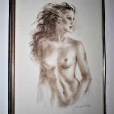 Tablou / Lucrare semnata Desen si Acuarela Femeie Nud - inramare profesionala