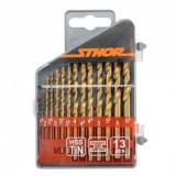 Set 13 burghie pentru metal Sthor 22300, dimensiune 1.5-6.5 mm, HSS Tin