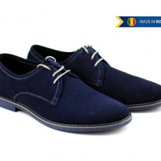 Pantofi barbati casual - eleganti din piele naturala intoarsa bleumarin - PABLU336