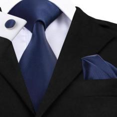 Set cravata + batista + butoni - matase naturala 100% - bleumarine