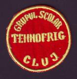 Anii '60 - Emblema vintage brodata Grupul Scolar TEHNOFRIG Cluj