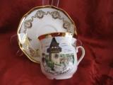 SET CANA CEAI / CAFEA SI FARFURIE PORTELAN AUSTRIA DECOR TURNUL CU CEAS GRAZ