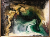 Verd smarald Peisaj abstract. Ttablou abstract pictat manual Tablou original, Ulei, Realism