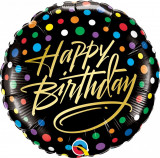 Balon Folie 45 Happy Birthday Dots - Qualatex 57295