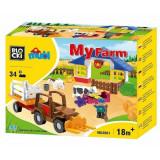 Set constructie Blocki mubi, Ferma cu Tractor, 34 piese, Robentoys