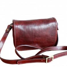 Geanta piele naturala, casual, coniac, GD102, Geanta stil postas, Rosu