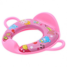 Reductor Moale pentru Toaleta, cu Manere si Spatar Heart Pink