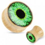 Dop pentru urechi din lemn - culoare maro deschis, glazură transparentă, ochi verzi - Lățime: 14 mm