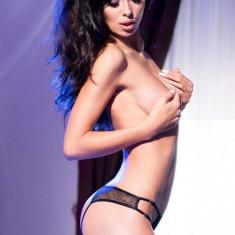 Bikini deschis S/M Black open crotch string
