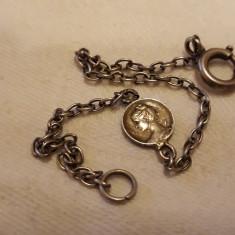 BRATARA argint CONTESA in medalion RARA art nouveau FRANTA 1900 delicata RARA