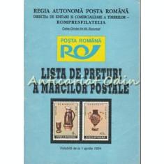 Lista De Preturi A Marcilor Postale. Valabila De La 1 Aprilie 1994