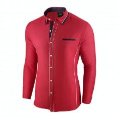 Camasa pentru barbati, rosu, slim fit - Allee de Longchamp, 3XL, L, M, S, XL, XXL
