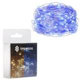 Instalatie luminoasa LED de Craciun, 50 led-uri, 5m, albastru, Alimentat cu baterii 3xAA
