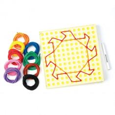 Desenam cu sfori, 18 sfori in 9 culori vibrante, 16 carduri plastifiate, Educational Insights