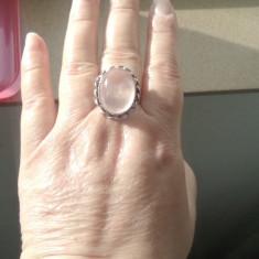 inel argint overlay cuart roz marime 8