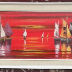 Tablou Peisaj marin pictura in ulei inramat 47x112 cm