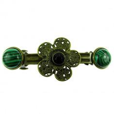 Clama de par floare bronz antic cu malachit