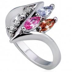 Inel strălucitor, linie curbată ascuțită cu zirconii colorate și transparente - Marime inel: 54