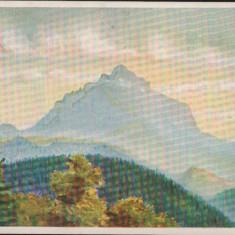 """Carte Postala - Ceahlaul, vazut din Petru-Voda de sculptorul V. A. Gh. """"CP21"""", Necirculata, Fotografie, Ceahlau"""