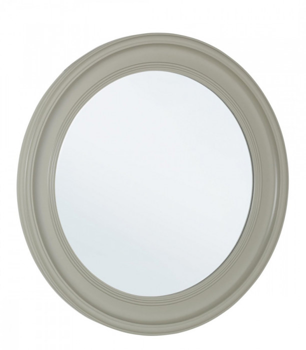 Oglinda decorativa perete cu rama rotunda lemn gri diametru 78 cm Elegant DecoLux