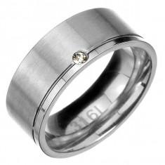 Inel din oțel - fâșie mată cu canelură lucioasă și zirconiu pe margine - Marime inel: 67