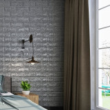 Tapet 3D Silver design perete modern din caramida , Autoadeziv , 77x70 cm