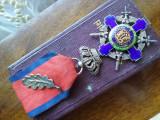 Steaua Romaniei cu cutie si Brevet panglica Virtute Militara + frunza RARA