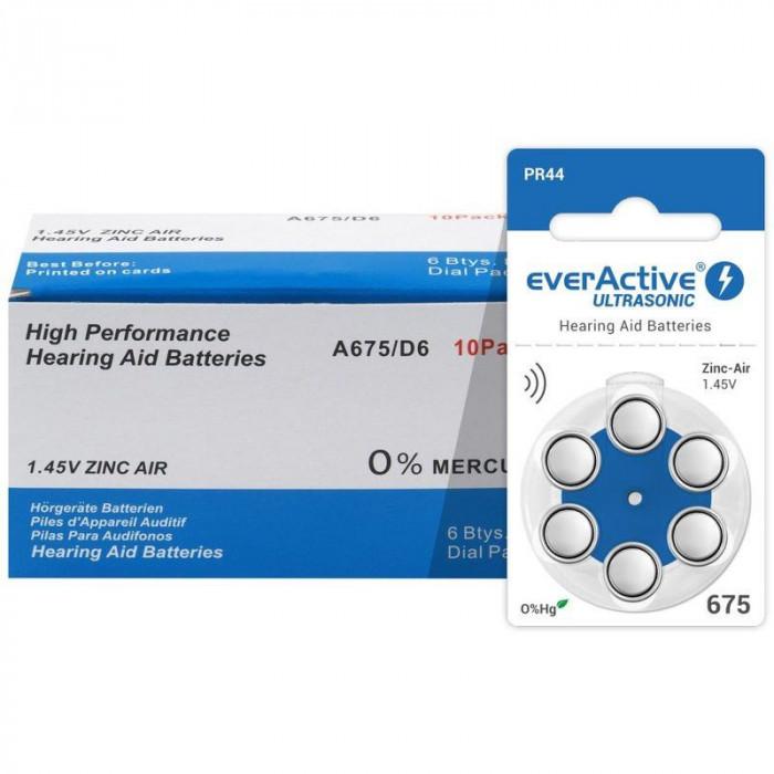 Baterii EverActive 675 pentru aparate auditive 10 Blistere /60 Bucati