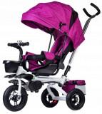Tricicleta cu scaun rotativ, maner parental, copertina, cos depozitare, suport picioare, centura, culoare Mov, Ecotoys