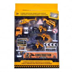 Set vehicule de constructie si accesorii Die Cast, scara 1:50, 3 ani+