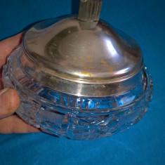 Bomboniera cristal cu bordura si capac argint 800 Austria