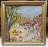 Tablou Peisaj Rural Arta Naiva pictura ulei pe panza inramat 57x57cm