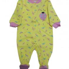 Salopeta / Pijama bebe cu gargarita Z31, 1-2 ani, 1-3 luni, 12-18 luni, 3-6 luni, 6-9 luni, 9-12 luni, Galben